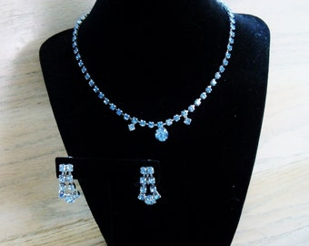 Vintage Blue Rhinestone Necklace and Earrings Wedding Jewelry Jewellery Bridal Party Prom Gift for Her