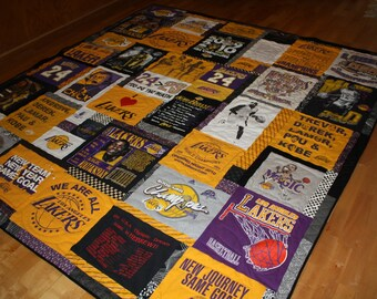 Custom made T Shirt Quilt for Sports Fan using your own LA Lakers basketball t shirts.