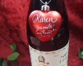 Personalized Valentine Glass Heart to hang from Wine or Perfume Bottle