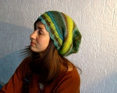 Magic wool hat in green, blue, yellow, brown, black and turquoise