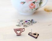 Tea Earrings | Tea Cup | Tea Lover | Wooden | Nickel Free