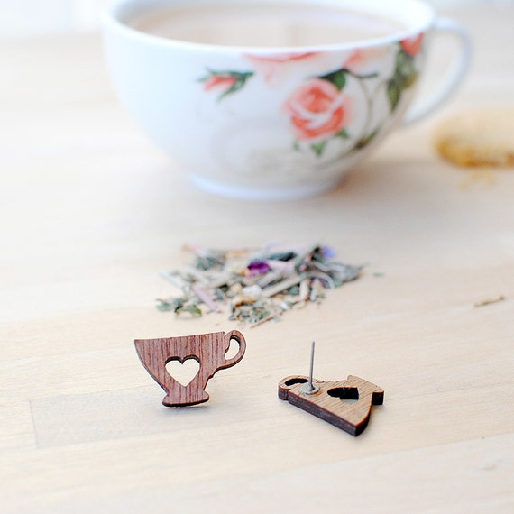 Tea Earrings | Tea Cup | Tea Lover | Wooden | Nickel Free