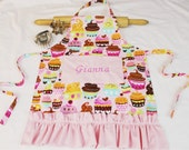 Personalized and Ruffled Pink Sweet Cupcakes Child Apron - made to order