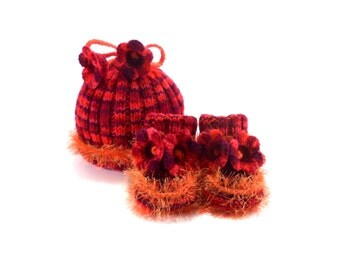 Knitted Baby Hat and Booties - Red and Orange, 3 - 9 month