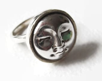 The Man in the Moon IV: an adjustable solid silver ring