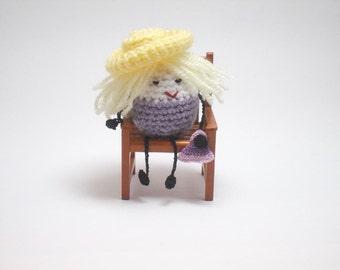 Little Crochet People, Desk Toy, Tiny People, Little People, Ms Lilac