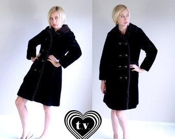 vtg 60s black FAUX FUR Russian Princess COAT Small outerwear mod jacket brown pea coat
