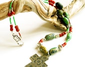 Southwestern Silver Cross Necklace - Bohemian Beaded Necklace in Turquoise and Silver - Ethnic Beaded Necklace in Red and Green