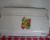 Vintage 1950s50s / 1960s60s / White Metal Wax Paper / Paper Towel Dispenser / Holder / Fruit Decal