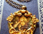 SALE-Captured Woodland Fairy Pendant (N430) - Artwork under resin - Brass framework - Swarovski Crystals - Brass chain