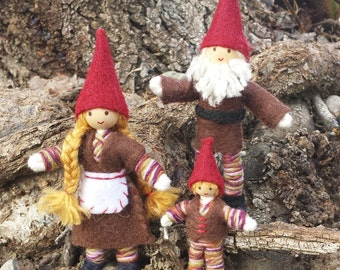 Woodland Gnome Doll Family - Waldorf Gnome - Bendy Doll