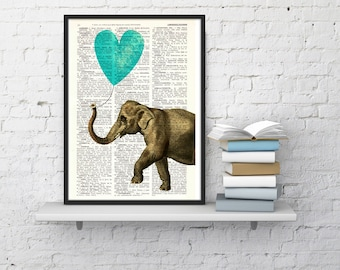 Summer Sale Elephant Print, Wall Art Print, turquoise Heart shaped balloon Wall Decor, Elephant POSTER Dorm Decor  Fun Love ANI218