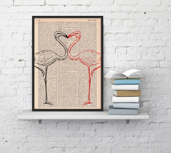 Spring Sale Flamingos in love  Bird Print on Vintage Dictionary Book altered art dictionary page illustration book print BPAN175