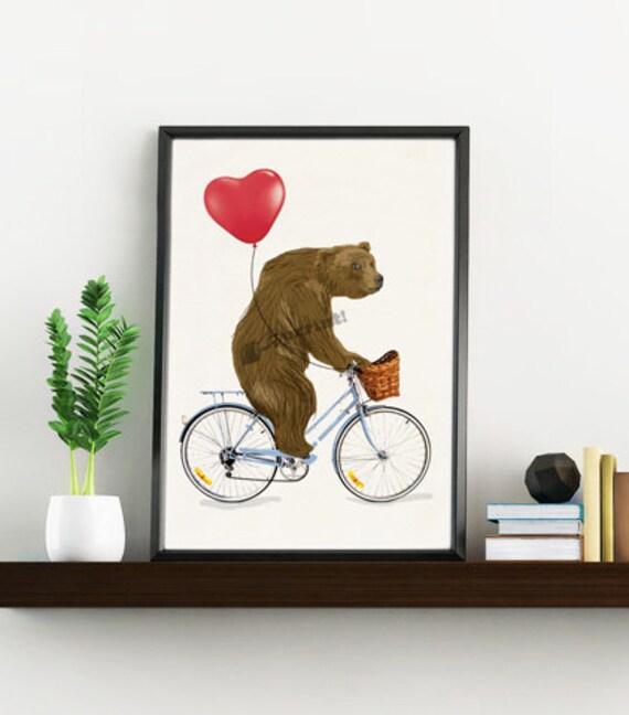 Wall art decor-The Grizzly Bear riding a bike.Gift Wall decor art print The Bear and heart balloon Love gift ANI222WA4
