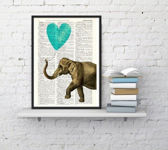 Spring Sale Elephant Print, Wall Art Print, turquoise Heart shaped balloon Wall Decor, Elephant POSTER Dorm Decor  Fun Love BPAN218