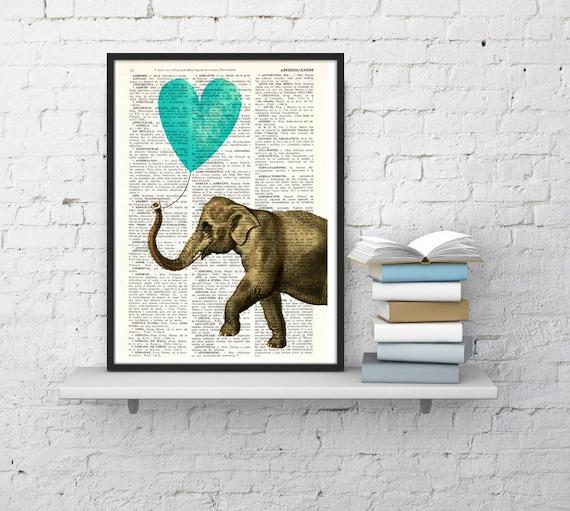 Elephant Print, Wall Art Print, turquoise Heart shaped balloon Wall Decor, Elephant POSTER Dorm Decor  Fun Love ANI218