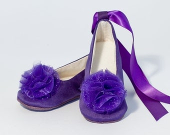 Satin Flower Girl Shoe, Purple Baby Ballet Slipper, Toddler Shoe in 23 colors - Baby Shoe - Wedding Shoes NB - Y1 - Baby Souls Baby Shoes