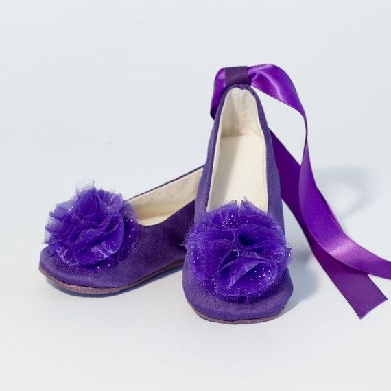 Cadbury Purple Flower Girl Shoes