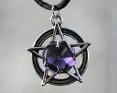 Dark Purple Prism Pentacle Necklace, Pagan Amulet, Wiccan Pentagram Pewter Charm Talisman