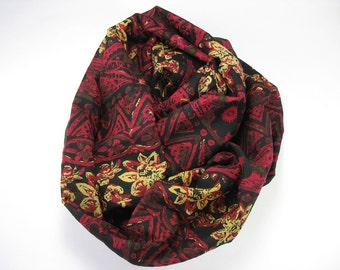 Women's Infinity Scarf Black Red Circular Scarf Lightweight Cotton Scarf OOAK Gifts for Women