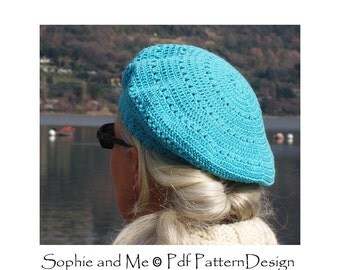 Beret Crochet Hat - Pattern - Instant Download Pdf
