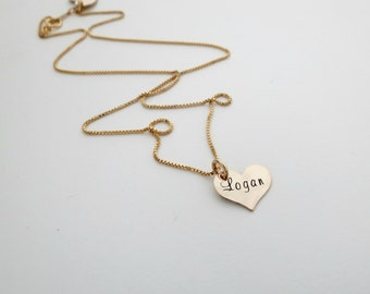Personalized Heart Necklace - Mothers Necklace - Gold Heart - Childs Name - Grandma - Nana Necklace - Engrave - Kids Name - Baby