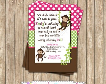 Monkey Birthday Party  PRINTABLE Invitation 5x7 4x6 pink green brown girl Need them PRINTED just ask...