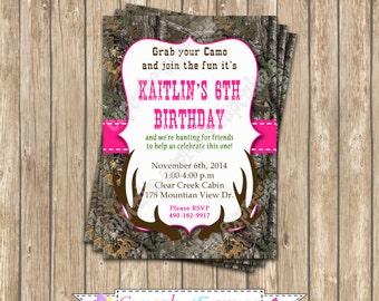 realtree  Camo Girl Hunting Birthday Party  PRINTABLE Invitation 5x7  camouflage Hot pink realtree 2