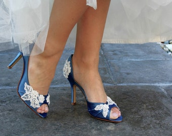 Wedding shoes peep toe low heel and high heel bridal shoes embellished with floral ivory French lace, crystal sequins, beads, and pearls