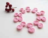 Crochet Bows, Bow Appliques, Tiny Small Cute Bows, Decorative Motifs, Light Pink, Pale Pink, Set of 10, Embellishment, Scrapbooking