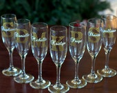 Bridesmaid gift idea glass, Champagne glass with chevron monogram, name and title.  Maid of Honor, Matron of honor. Gold, winter wedding