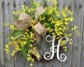 Forsythia Monogram Wreath, Wreath for Spring, Burlap Wreath with Monogram, Wreath with Burlap Bow, Yellow Bell Wreath, Horn's Handmade