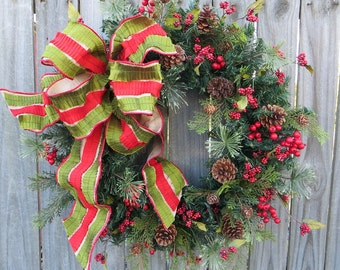 Christmas Wreath - Natural Elegance Wreath - Designer Wreath with Elegant Bow - Wreath with Berries