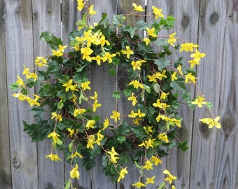 Spring Wreath, Spring Wreaths, Spring Door Decor, Wreath, Wreaths, Forsythia Wreath, Forsythia Wreaths, Yellow Bell Wreath, Yellow Flower