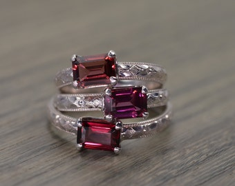 Garnet Rhodolite Peach Ring, all sizes, emerald cut silver gold milgrain solitaire, January Birthstone - Fitz Ring