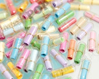 Clear Secret Love Note, Transparent Wish Pill Faux Capsule, Love Note, Note in a Bottle, 20mm x 7mm (R4-118)