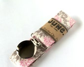 Pacifier Clip, Binky Clip, Paci Clip, Toy Leash in Pink and Cream Damask