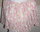 FREE SHIPPING   Elegant Crocheted Caplet Pink and Natural