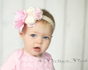 ivory and pink baby headband - girls headband - pink flower headband - flower girl headband - infant headband - hair clip - hair accessories