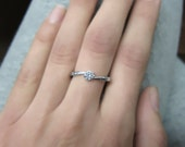 Round Shape Twisted Diamond Engagement Ring 14k White Gold or Yellow Gold Art Deco Diamond Ring