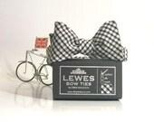 Black mini Gingham cotton self tie bow tie wedding bow tie groom's bow tie groomsmen gift wedding gift