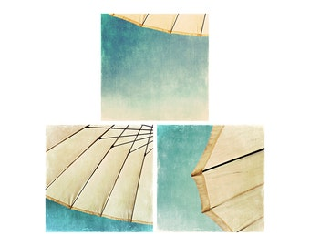beach umbrella photograph umbrella print set beach photograph mint wall decor beach house decor travel photography summer photograph