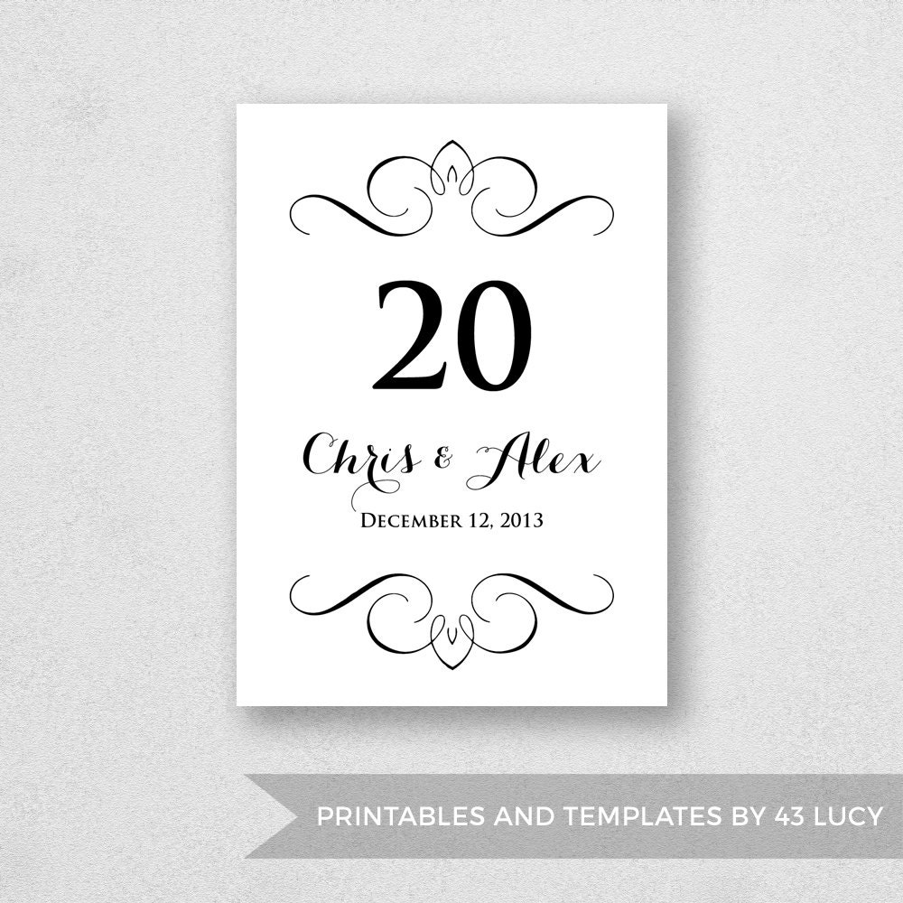table number template printable instant download for word. Black Bedroom Furniture Sets. Home Design Ideas