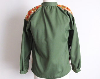 Vintage 70s Green Shirt, Long Sleeve Shirt, Made in Germany