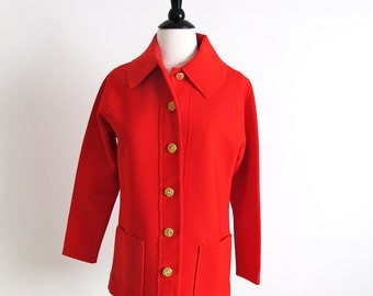 Vintage 60s Red Jacket, Red Knit Top, Polyester Jacket