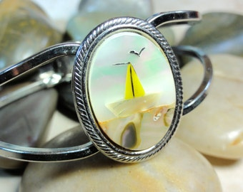 Vintage Silvertone Mother Of Pearl Abalone Shell Yellow Sailboat & Seagull Clamper Bracelet - Free Shipping