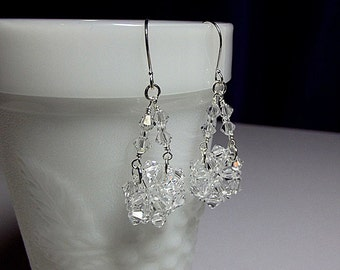 Clear Crystal Chandelier Drop Earrings, Bridesmaid Wedding Mom Sister Grandmother Girlfriend Birthday Jewelry Gift Valentines Mothers Day