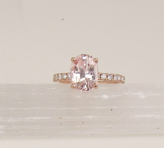 RESERVED Final Payment on Custom Order for 2.85ct Peach Pink Champagne Sapphire 14k Rose Gold Diamond Accented Engagement Ring