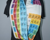 Periodic Table KNIT scarf (white background)  - Infinity or regular style - made to order