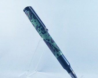 30 Caliber Long Bullet Cartridge Twist Pen - Black Enamel & Hand Crafted Clay - Camo colors 30CL-9502